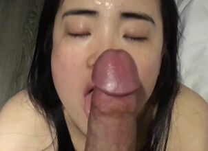 Asian chinese red lips blowjob